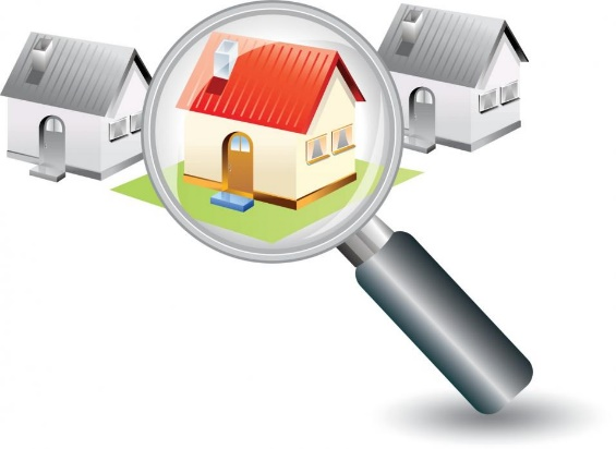 A concept showing magnifying glass searching for the right manufactured home