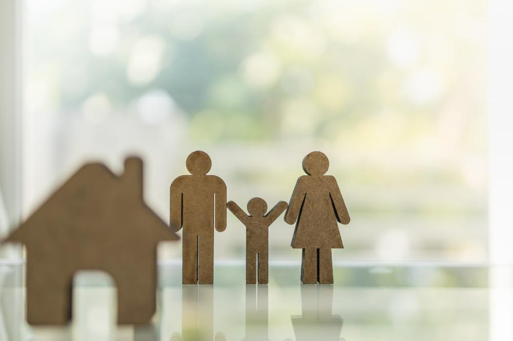 A model of a family and a home, a home equity concept.